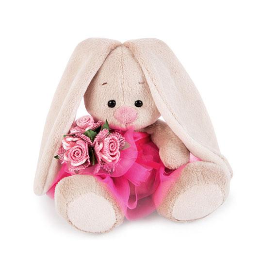 Зайка Ми в розовой юбке и с букетом